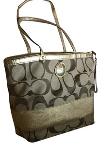 Coach Monogram Tote in Gold and tan