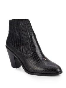 Ash Snake Embossed Leather Ankle Pointed Toe Black Boots