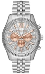 Michael Kors Women's Lexington Chronograph Glitz Silver Tone 44mm Watch MK8515