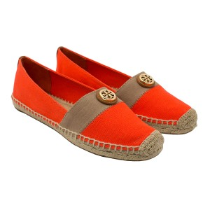 Tory Burch 35060 Poppy Red/Khaki/Tan Flats