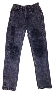 American Apparel Distressed Ripped Altered Rock Denim Relaxed Fit Jeans-Acid