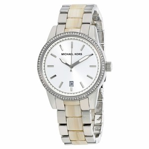 Michael Kors Women's Silver Stainless Steel Horn Acrylic Glitz 37mm Watch MK6371
