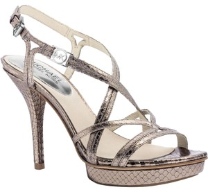 Michael Kors Metallic Silver Leather Strappy Platform Silver Metallic Sandals