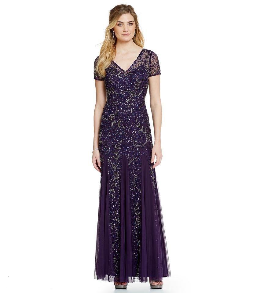 Adrianna Papell Amethyst Beaded Short Sleeve A Line Gown Formal