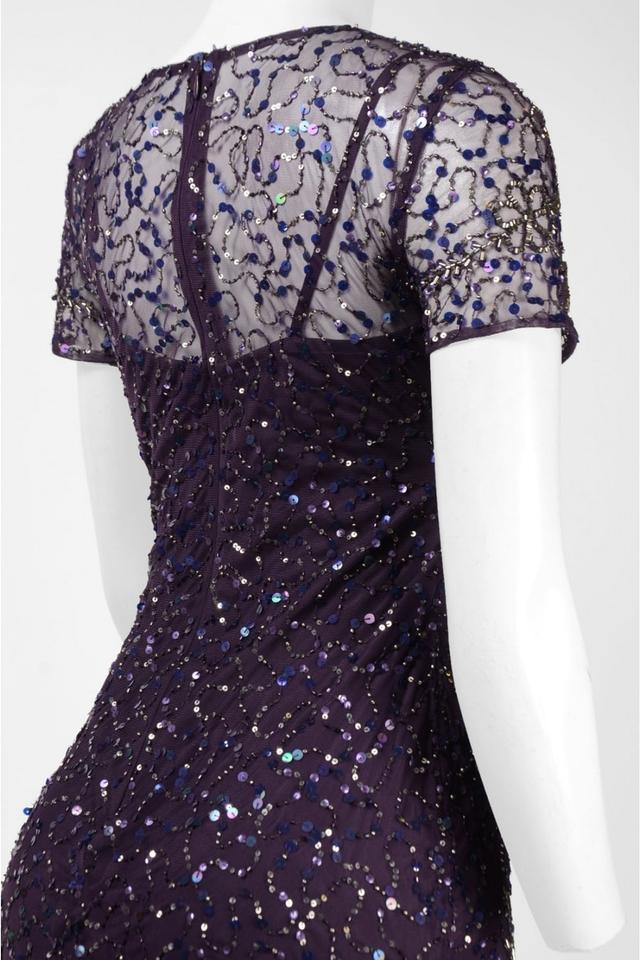 bbb29388b73 Adrianna Papell Amethyst Beaded Short Sleeve A-line Gown Formal Bridesmaid/Mob  Dress Size 4 (S) - Tradesy