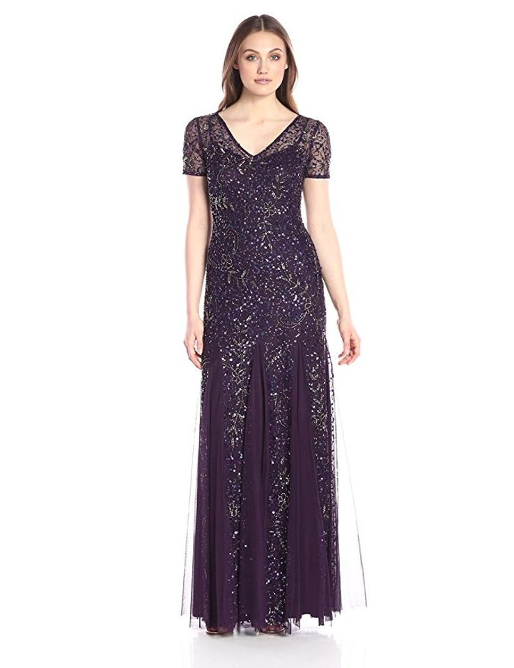 b560978cc2b Adrianna Papell Amethyst Beaded Short Sleeve A-line Gown Formal Bridesmaid/Mob  Dress Size. 1234567891011