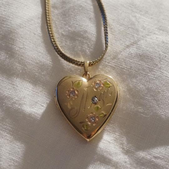 "Other Vintage Gold Filled Engraved ""Mother"" Diamond Heart Locket Necklace Bridal"