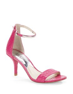 Michael Kors Leather Open Toe Ankle Strap Ambossed Pink Sandals
