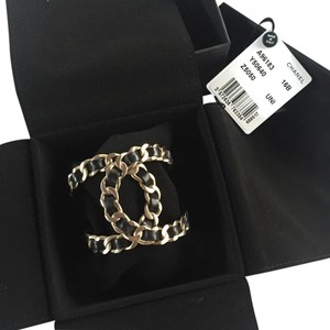 Chanel Chanel Gold Chain Leather Bracelet/Cuff