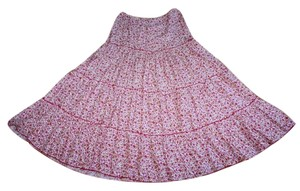 Morgan de Toi Floral Tiered Maxi Skirt PINK