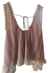 Free People Lace Trim Lace Bohemian Top Pink
