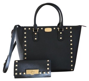 Michael Kors Studded Saffiano Leather Tote in Black