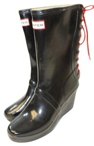 Hunter Rubber Wedge Black Boots