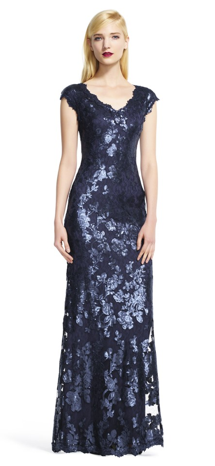 25113b45 Adrianna Papell Navy Cap Sleeve Sequin with V-neck Long Formal Dress ...