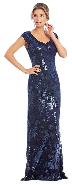 Preload https://img-static.tradesy.com/item/20227091/adrianna-papell-navy-cap-sleeve-sequin-with-v-neck-long-formal-dress-size-16-xl-plus-0x-0-1-650-650.jpg