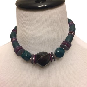 Les Bernard Vintage Necklace. Purple, Turquoise, and silver.