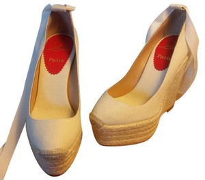 Christian Louboutin Ballet Platform Ankle Wrap Ecru Natural Cream Wedges