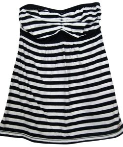 Hollister Small Halter Striped Dark Blue & White Halter Top