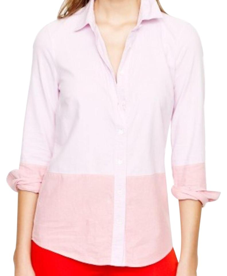 J.Crew Pink & Salmon Button-down Top Size 8 (M) - Tradesy