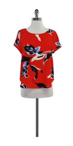 Yumi Kim Multi Color Floral Silk Short Sleeve Top