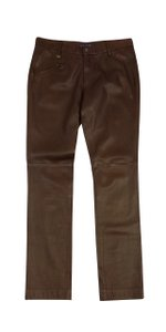 Ralph Lauren Brown Leather Skinny Skinny Jeans