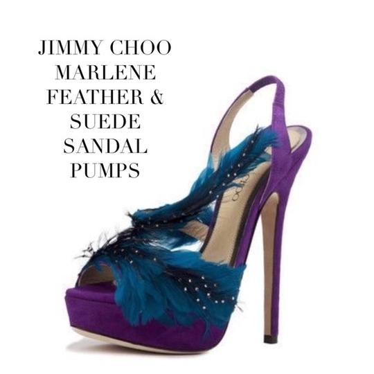 Jimmy Choo Marlene Sexandthecity Icons Feather Purple & Blue Sandals Image 0