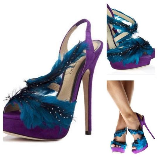 Jimmy Choo Marlene Sexandthecity Icons Feather Purple & Blue Sandals Image 1