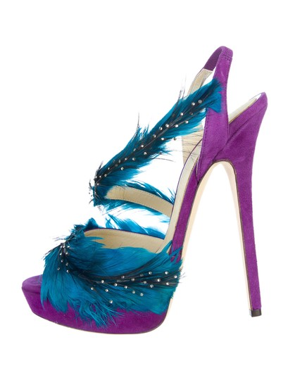 Jimmy Choo Marlene Sexandthecity Icons Feather Purple & Blue Sandals Image 2