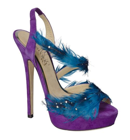 Jimmy Choo Marlene Sexandthecity Icons Feather Purple & Blue Sandals Image 3