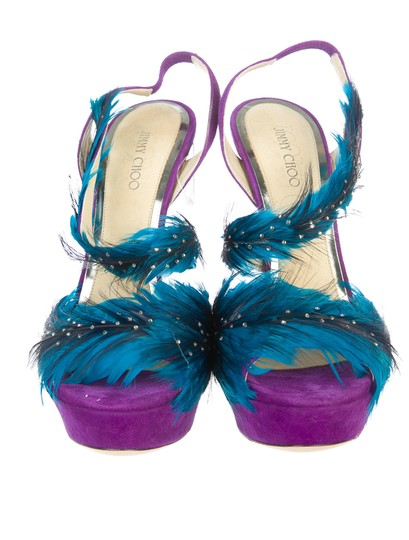 Jimmy Choo Marlene Sexandthecity Icons Feather Purple & Blue Sandals Image 4