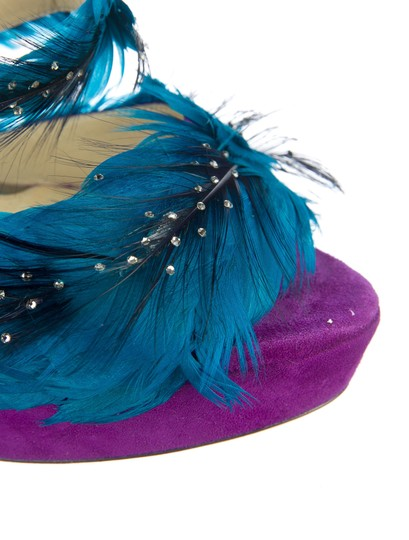 Jimmy Choo Marlene Sexandthecity Icons Feather Purple & Blue Sandals Image 5