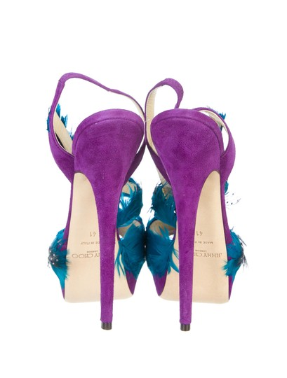 Jimmy Choo Marlene Sexandthecity Icons Feather Purple & Blue Sandals Image 6