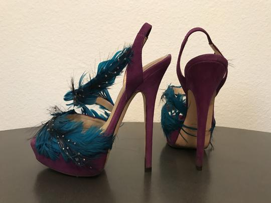 Jimmy Choo Marlene Sexandthecity Icons Feather Purple & Blue Sandals Image 7