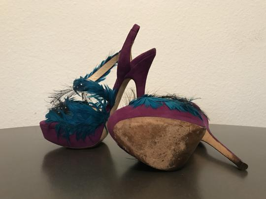 Jimmy Choo Marlene Sexandthecity Icons Feather Purple & Blue Sandals Image 9