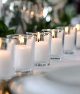 144 Glass Clear Votives And White 10 Hour Candles