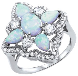 9.2.5 Gorgeous large Art Deco style opal and white sapphire ring size 8