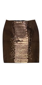 Carlisle Bronze Silk Wool Sequin Skirt