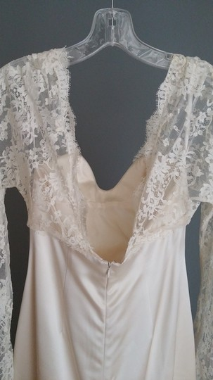 Ivory Silk and Alsace Lace Vintage Inspired Feminine Wedding Dress Size 6 (S)