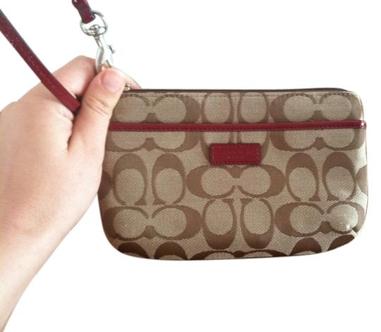 Coach Wristlet in Brown/Red