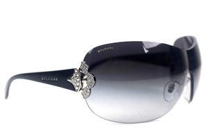 BVLGARI Shield Swarosvki Crystal Black Sunglasses New 6069-B