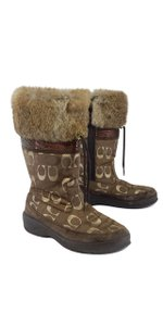 Coach Brown Gold Monogram Snow Boots