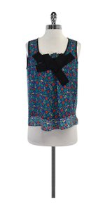 Marc Jacobs Blue Multi Color Floral Silk Top