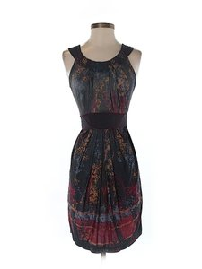 BCBGMAXAZRIA Silk Artsy Print A-line Dress