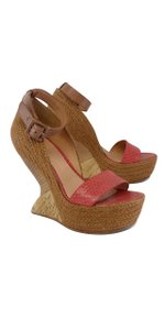 Leifsdottir Snakeskin Leather Red Wedges