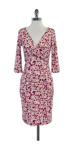Diane von Furstenberg short dress Magenta White Wrap on Tradesy