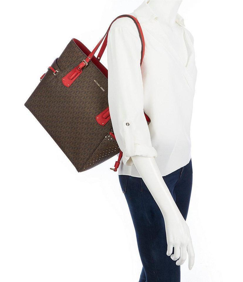 c0fe9473bb64 Michael Kors Voyager East/West Signature Brown Bright Red Leather Tote -  Tradesy