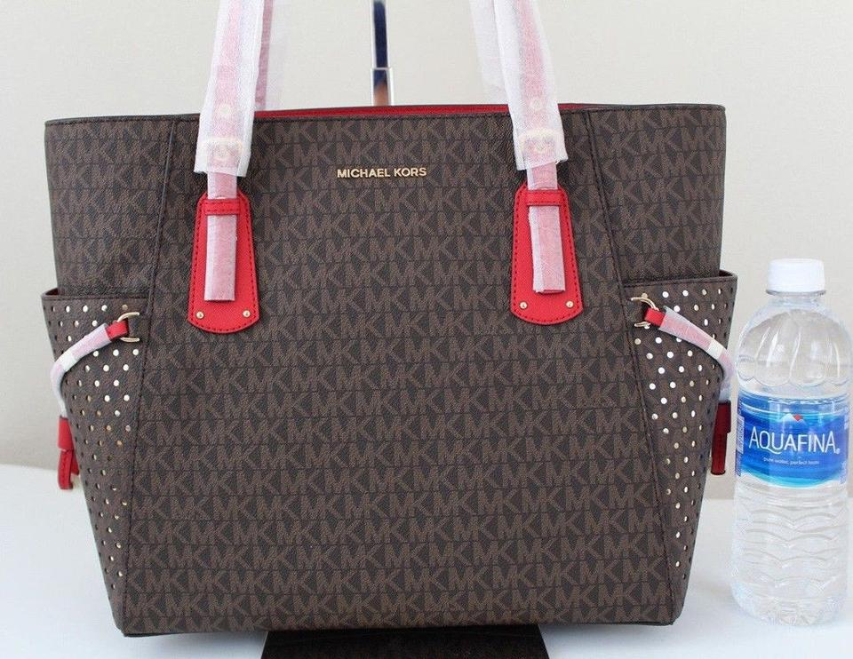 47b44a5b75c9 Michael Kors Voyager East/West Signature Brown Bright Red Leather ...