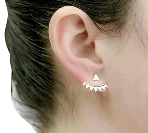 Silver Convertible Triangle Stud Ear Jacket Front to Back Earrings