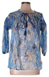Tracy Reese Bohemian Sheer Oversized Smocking Balloon Sleeves Top Blue, Peach