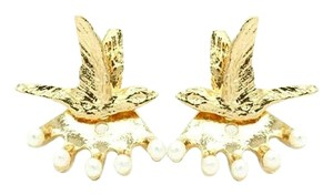 Gold Bird Pearl Convertible Ear Jacket Front to Back Stud Earrings